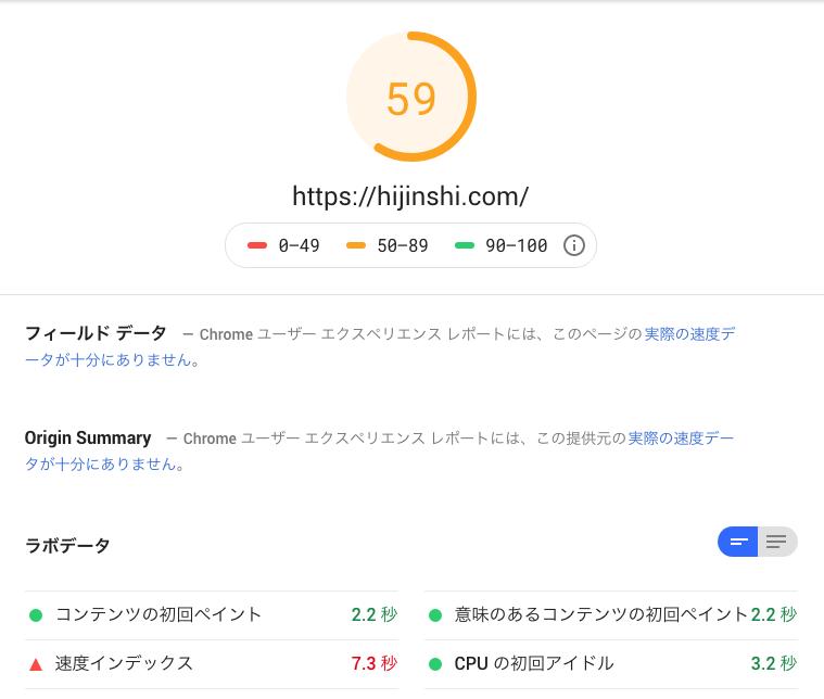 サイト表示速度検証結果 2回目